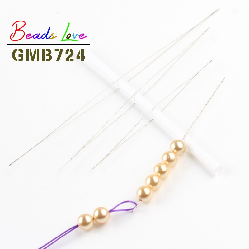 5pcs Central Opening Beading Needles Stainless Steel Tools Pins For Beadwork Threading Handmade Women Jewelry Diy Accessories