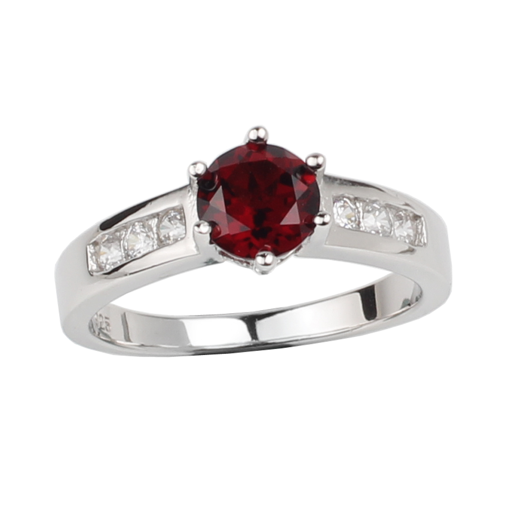Jewelry Ring Birthstone Garnet 925-Silver Crystal Sign 6mm Red Women Classic R034RGN