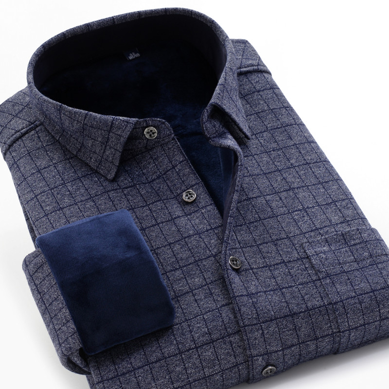 M To 10XL Large Size Brand Plaid Long-sleeved Shirt 2019 Winter Comfortable Thick Warm High Quality Fashion Youth Casual Shirt