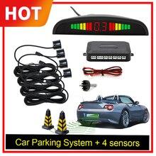 Araba oto parktronik LED park sensörü 4 sensörleri ile ters yedekleme araba park Radar monitör dedektörü sistemi arka işık ekran