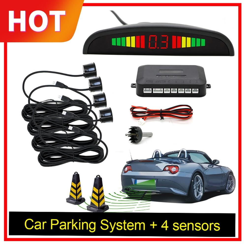 Car Auto Parktronic LED Parking Sensor With 4 Sensors Reverse Backup Car Parking Radar Monitor Detector System Backlight Display(China)