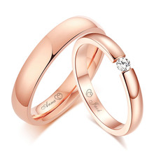 Women Men Free Personalize Engraving Name Anniversary Date Wedding Bands Rings for His and Her Promise Love Custom Jewelry(China)