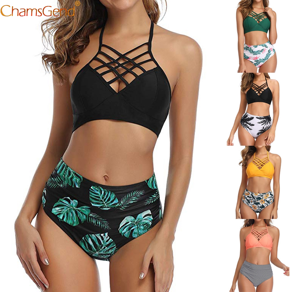 Plus Size Bikini Sets Sexy Bandage Cloth Grid Women's Swimsuit Push Up Padded Swimsuit High Waisted Bathing Beachwear Suit 2020