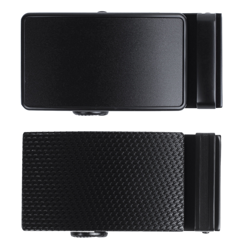 2pcs Men's Solid Buckle Automatic Ratchet Leather Belt Buckle Black - With Twill & With Border