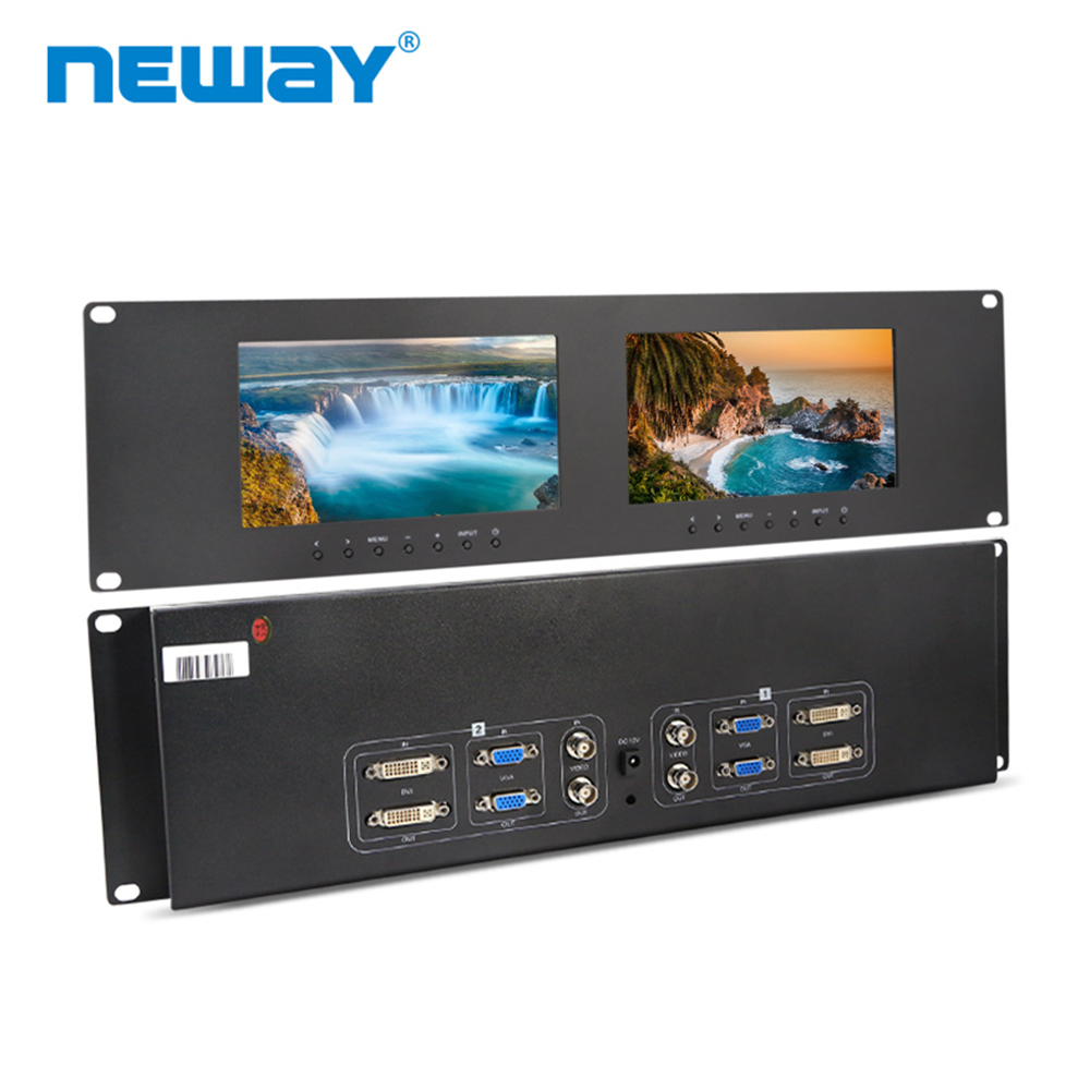 Neway RM71D 3U Rackmount 7 Inch Dual Monitors  DVI VGA Video Input&Out