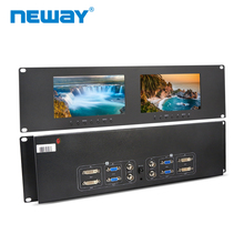 Neway RM71D 3U Rackmount 7 inch Dual Monitors  DVI VGA Video Input&Out