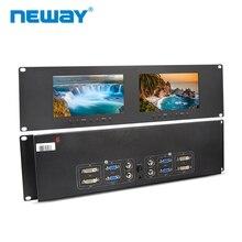 Neway rm71d 3u rackmount 7 polegadas, monitores duplos dvi, entrada de vídeo e saída vga