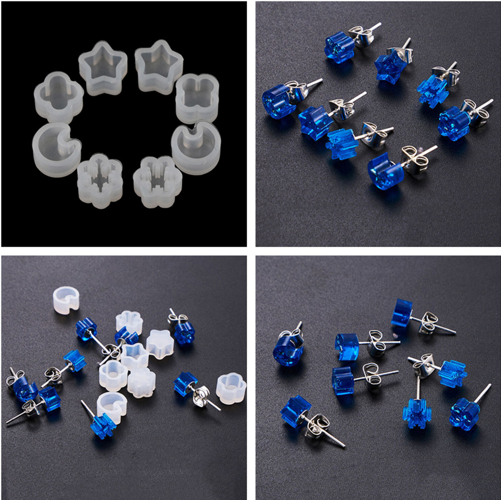 5pcs /set Craft Tool Flower DIY Silicone Earring Ear Stud Mold Making Jewelry Resin Casting Mould