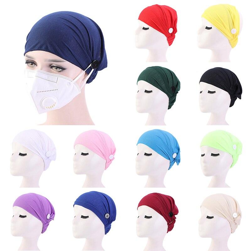 Elástico com botão chapéu feminino, chapéu turbante, hijab, boné sólido, chapéu de enfermeira, femme, de algodão, novo, 2020