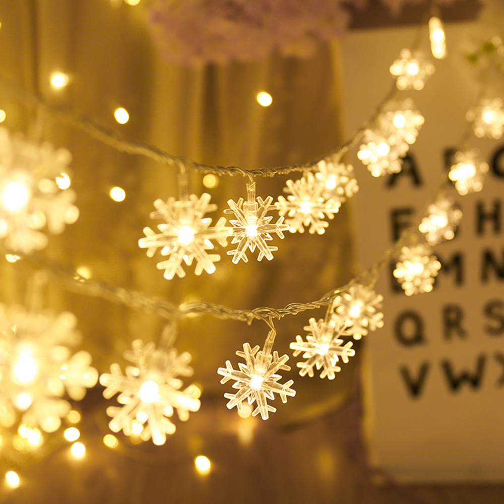 LED Snowflake String Lights Battery Operated Fairy Garland String Light For Christmas New Year Valentine LED Decoration Light