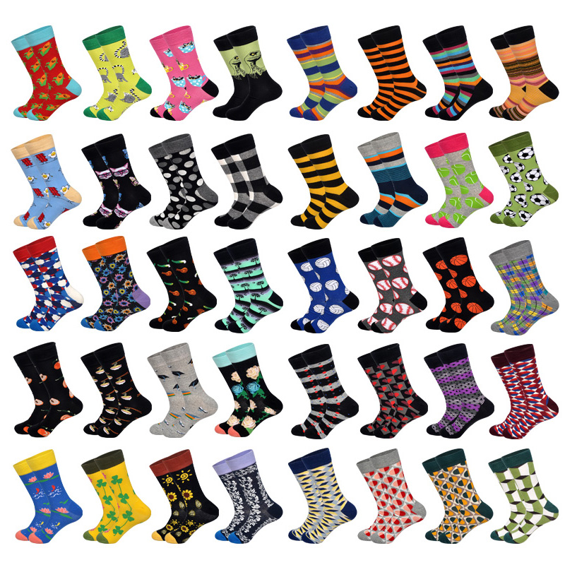 Downstairs New Winter Happy Socks Muti Colored Designer Brand Hip Hop Streetwear Art Meias  Long Sock Crew Calcetines