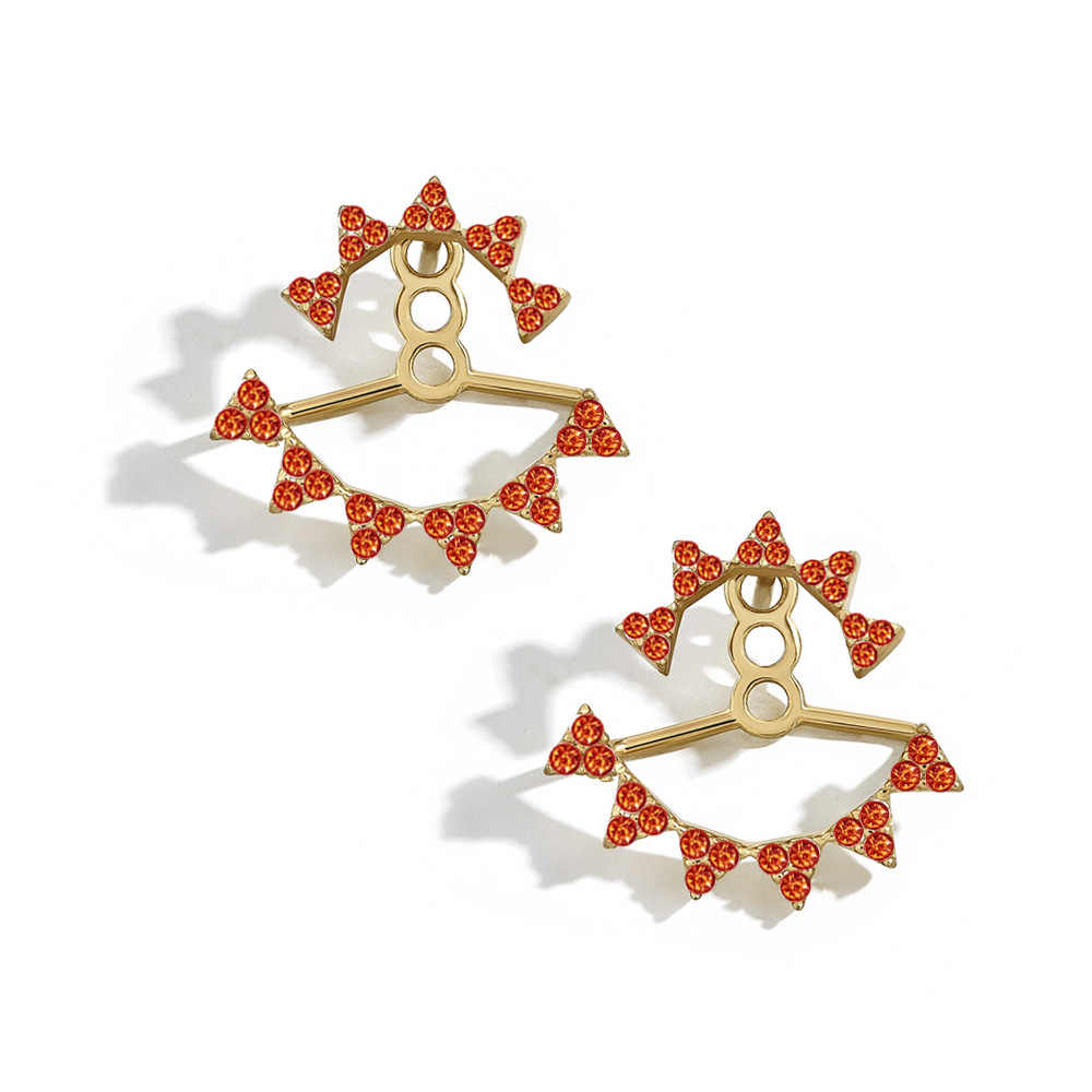 9 Warna Depan Belakang Merah Putih Merah Muda Ungu Hitam Hijau Biru Orange Warna-warni Crystal Stud Anting-Anting Wanita Dasar Kecil stud Anting-Anting