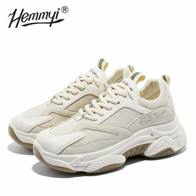 Hemmyi 2020 Chunky Sneakers Women 6CM Increased Thick Bottom Platform Women Casual Shoes Breathable Mesh Shoes Woman Beige