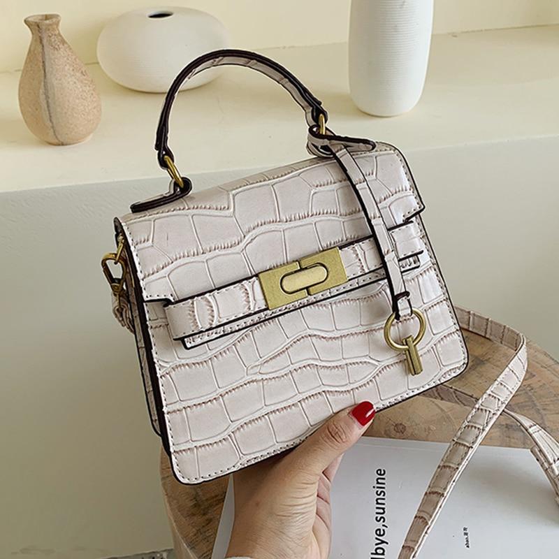 New Stone Pattern Leather Crossbody Bag