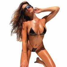2 шт., сексуальный женский летний купальник, бюстгальтер, треугольный костюм, купальник, купальный костюм, регулируемый, на тонких бретелях, Одноцветный, пляжный, микро бикини, набор
