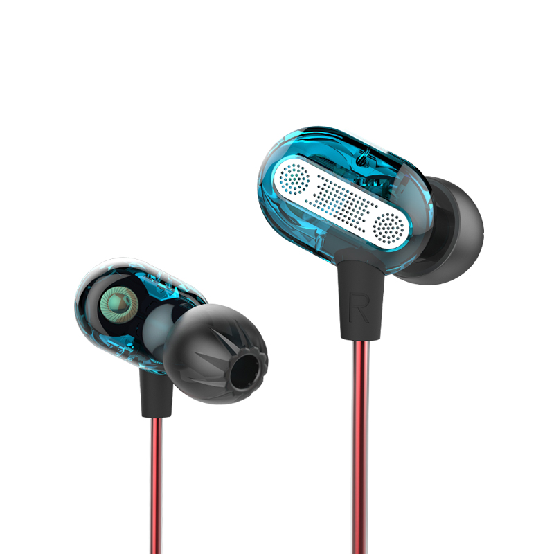 KZ ZSE Professional Stereo HiFi Music Earphones With Mic-Blue