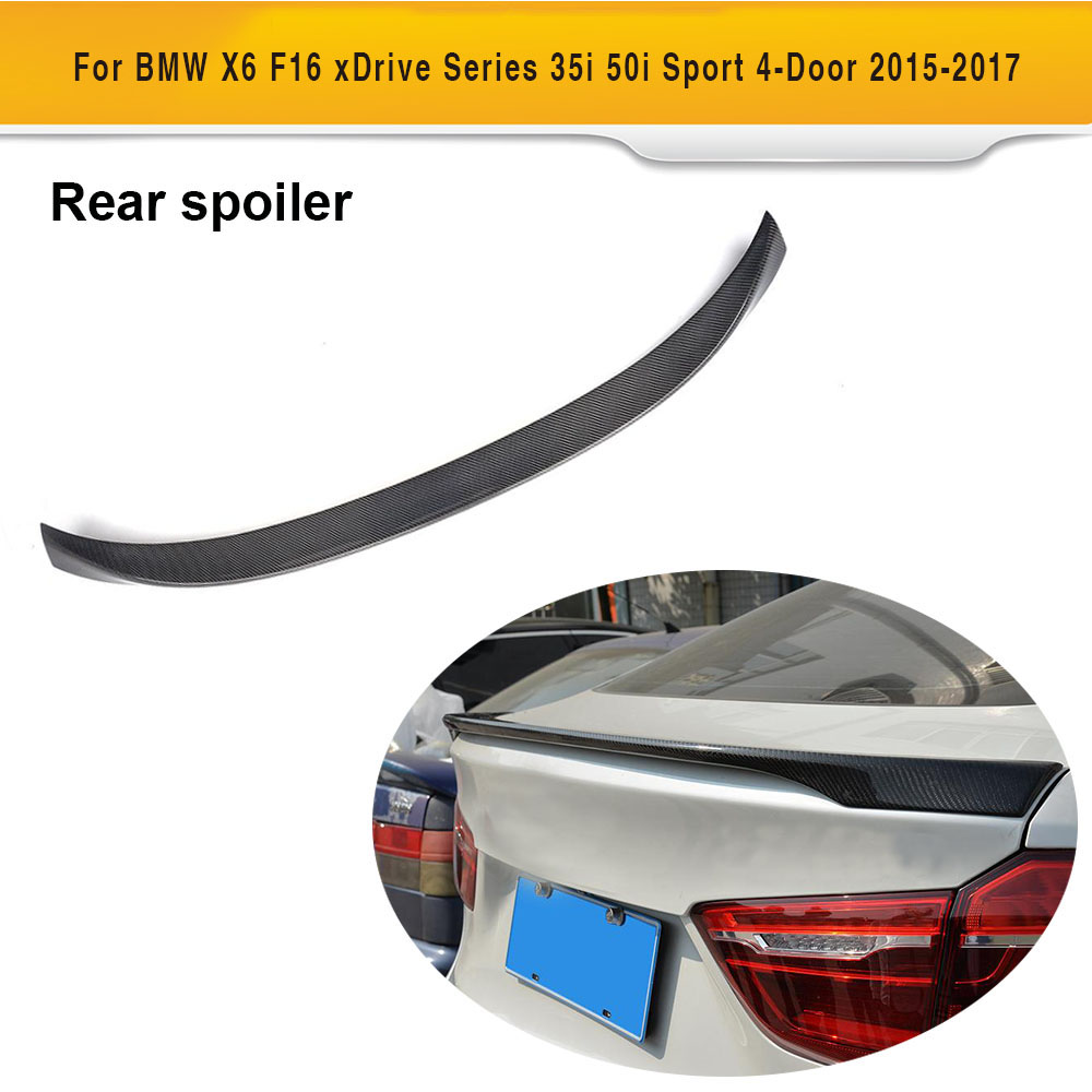 Carbon Fiber Car Rear Trunk Spoiler Wing Lip For BMW X6 F16 2015 2016 2017 Carbon Wing Car Styling