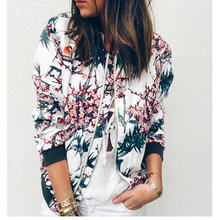 Woman Jacket Kpop Long Sleeve Thin 5XL Oversized Clothing Cropped Zipper Jacket Retro Floral Print Daily Coat Women Femme Veste(China)