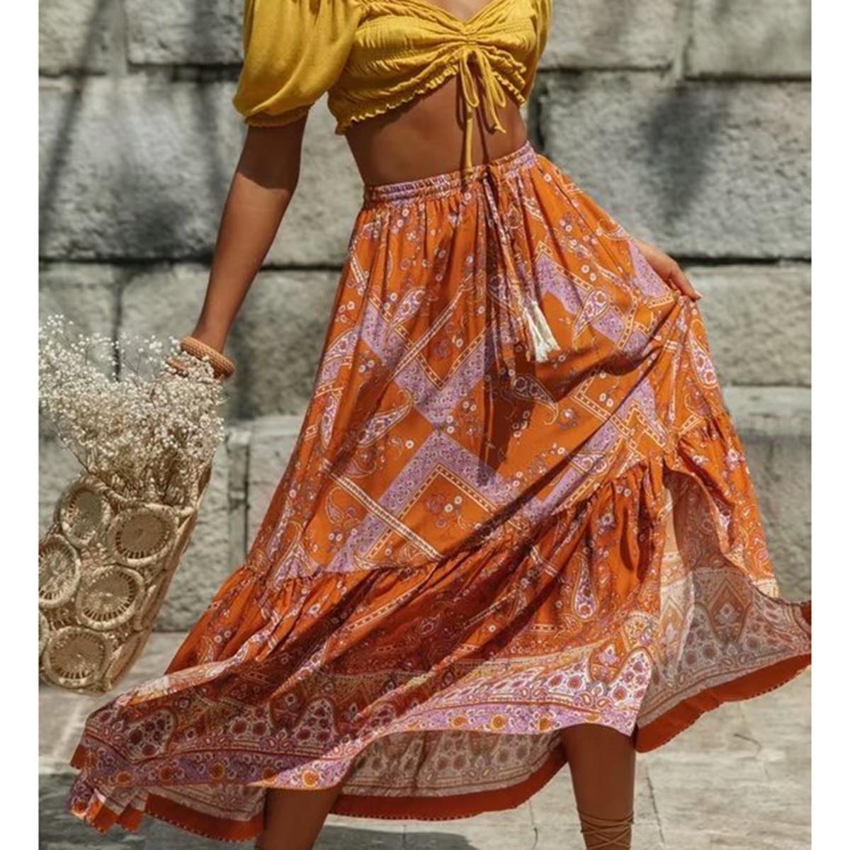 Women Maxi Skirt Cotton Orange Floral Print Split Sexy Summer Skirts Vintage Beach Casual Clothes Boho Long Women Skirts