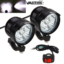 2PCS 50W 5000LM 4V-84V Motorcycle 5x XM-L T6 LED Driving Headlight Fog Lamp Spot Light With Switch