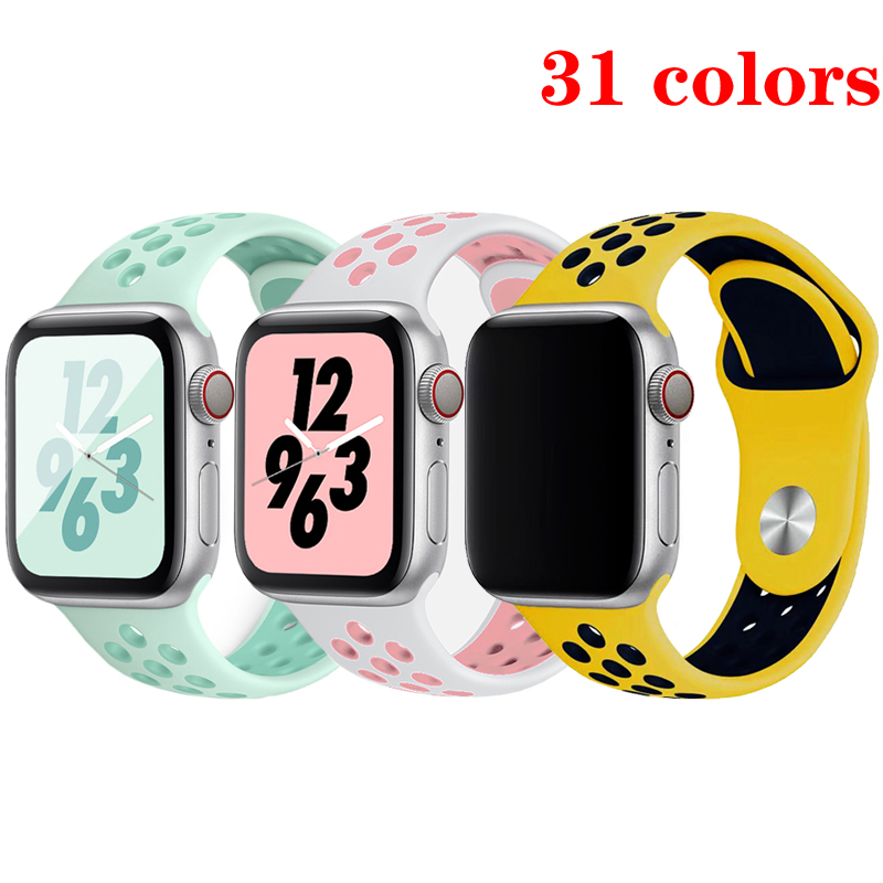 Sport Silicone Strap For Apple Watch Band 4 5 44mm 40mm 42mm 38mm Iwatch 5/4/3/2/1 Belt Bracelet Rubber Watchband Accessories