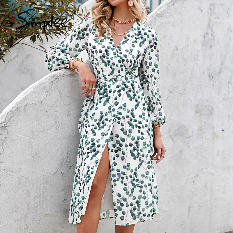 Simplee элегантное платье с принтом в виде зеленых листьев, сексуальные весенние женские платья с длинным рукавом и v-образным вырезом, коллекц...