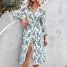 Simplee elegante folha verde impressão vestido sexy primavera longo-mangas compridas com decote em v vestidos femininos 2021 escritório envoltório rendas-up a line vestidos