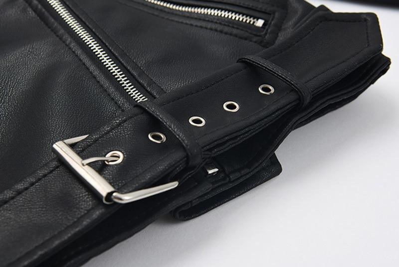 [EAM] Loose Fit Black Pu Leather Belt Short Jacket New Lapel Long Sleeve Women Coat Fashion Tide Spring Autumn 2020 1Z558 5