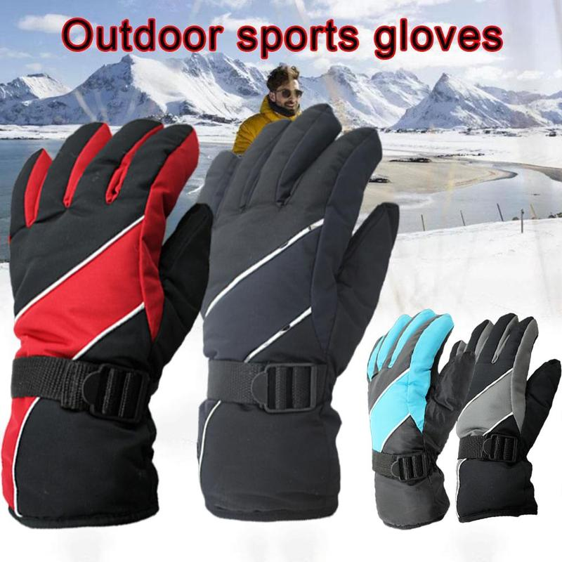 1 Pair Waterproof Ski Gloves Thermal Motorcycle Riding Unisex Snow Gloves Winter Outdoor Sports Snowboard Women Men Gloves