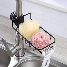 Shelf Faucet-Rack Sink-Storage Kitchen-Supplies Sponge Wrought-Iron-Sink Free-Perforated