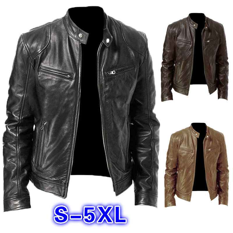 Men PU Leather Jacket Winter Vintage Black Zipper Male Motorcycle Bomber Jacket Streetwear Pocket Stand Collar Men Leather Coat