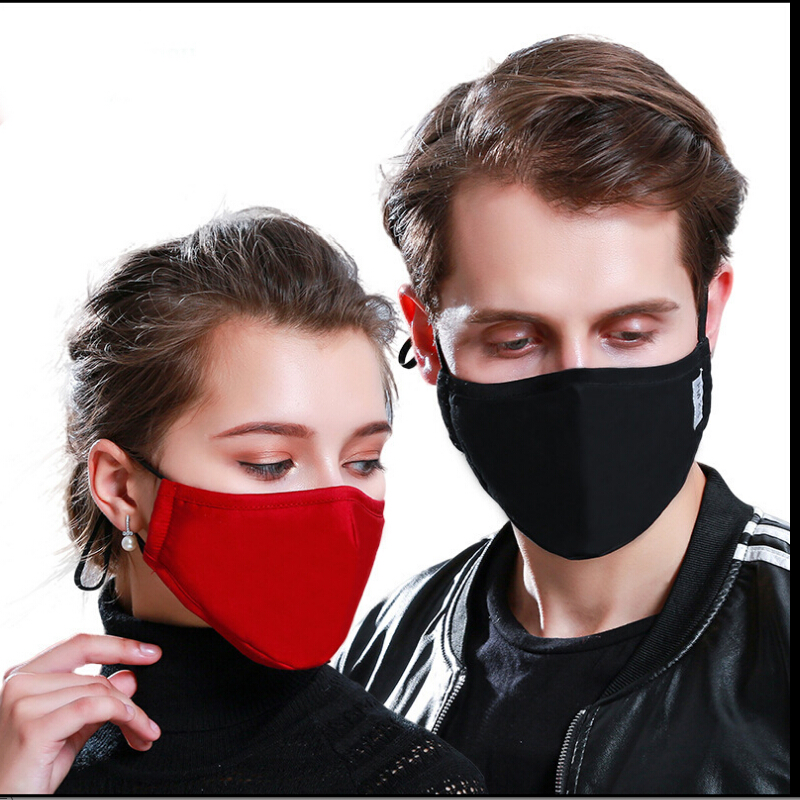 Men Women's Autumn Winter Thicken Warm Mask Men PM 2.5 Breathable Solid Color Cotton Mouth-muffle R655