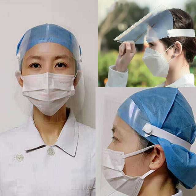 1Pc Safety Adjustable Full Face Shield Clear Flip-Up Visor Plastic Anti-Spitting Saliva-proof Dust-proof Protective Mask 1