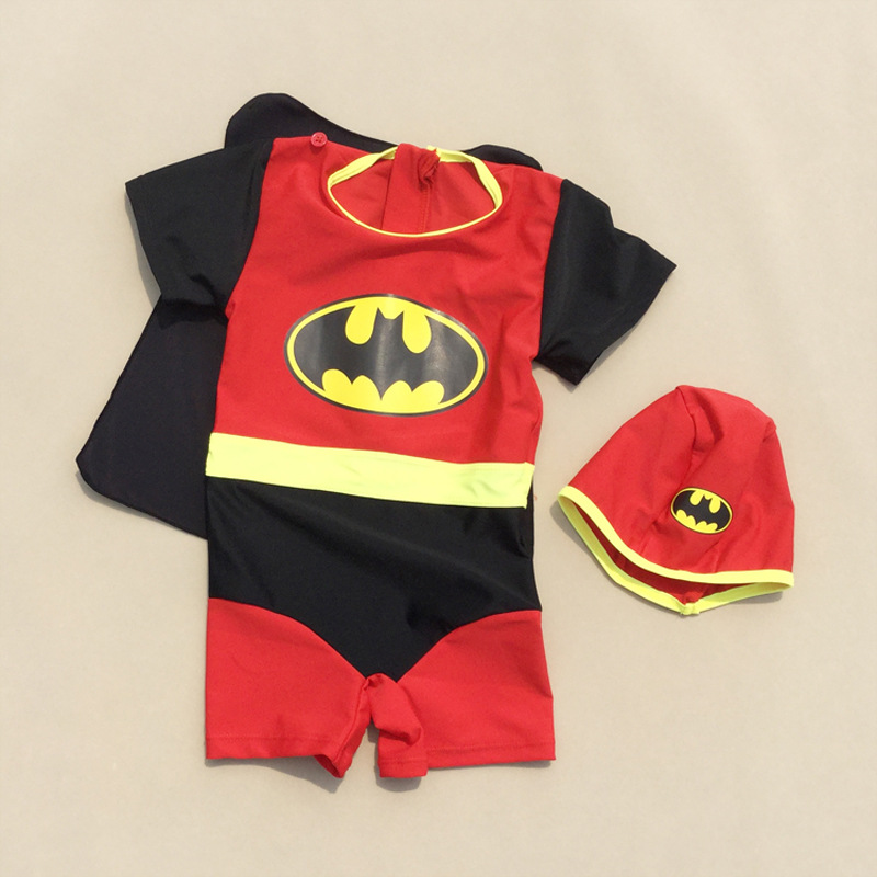 Wholesale One-piece Swimsuit For Children Short Sleeve Sun-resistant Tour Bathing Suit With Mantle Bat Baby Cartoon Swimsuit For