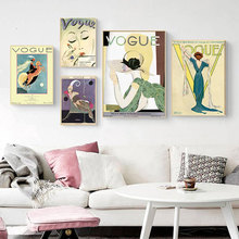 Modern Fashion Female Poster Vogue Abstract Paintings Retro Vintage Poster Oil Painting Pictures for Home Design Frameless