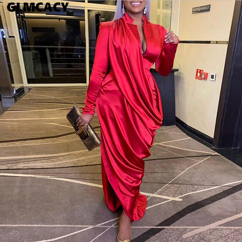 Women Long Sleeve Satin Midi Dress Sexy Party Dresses Elegant Solid Plunge Ruched Formal Evening Irregular Long Dress