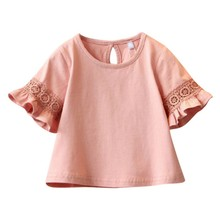 цены Children Girls Tops Clothes Baby Girl Flare Sleeve Round Neck Solid Print Lace Tops Shirts Kids Tops Summer Casual Blouse