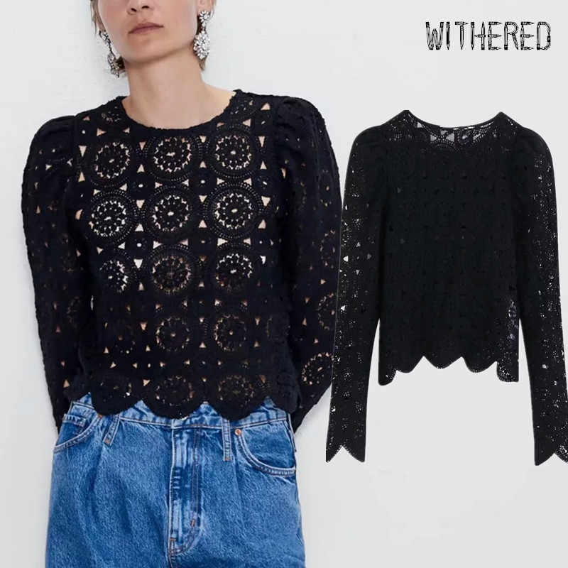 Withered 2019 autumn sweaters women england vintage hollow out knitting sexy o-neck pull femme sweaters women pullovers tops