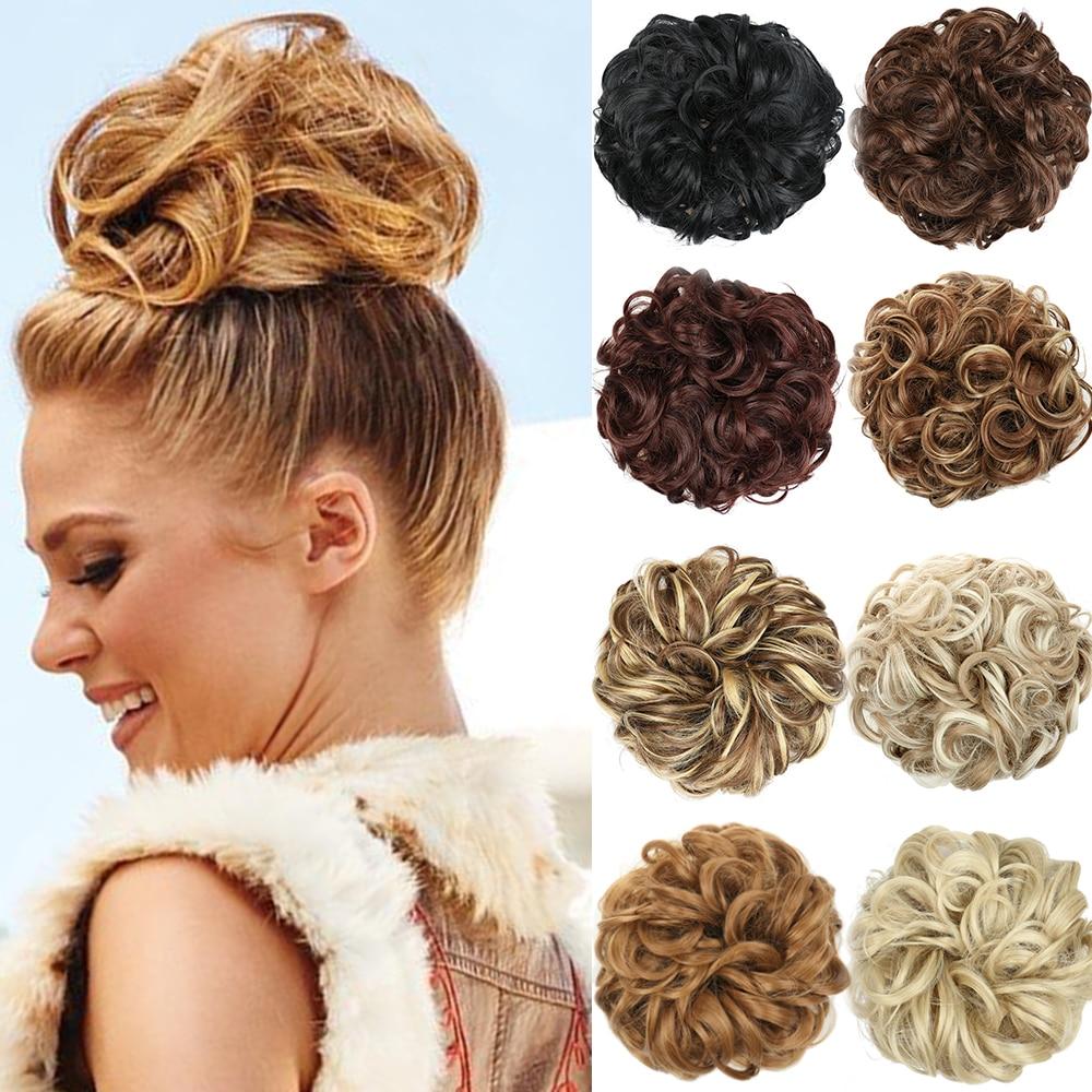 MERISI HAIR 90g Synthetic Elastic Hair Scrunchie Curly Chignons Hair Rope Natural Fake Hair Bun Curly Bun for Girl