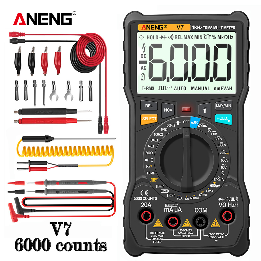 ANENG V7 Digital Multimeter 6000 Counts Avometer Transistor Capacitor Tester Multimetro Digital Profissional Lcr Meter Multimetr