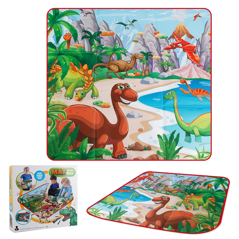 Children'S Educational Fun Dinosaur Scene Game Mat Baby Cartoon Crawling  Rug Foldable Storage Toy Box