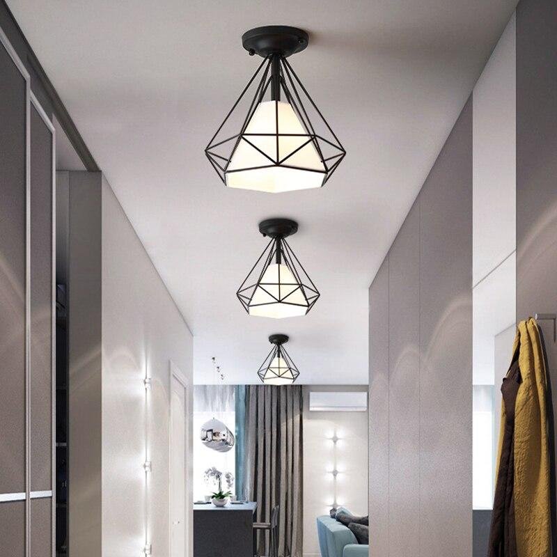Винтажные потолочные светильники, черные, белые, золотые светодиодные лампы в стиле лофт, геометрической формы, железная клетка, для гостин...