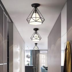 Vintage Ceiling Lights Black White Golden Loft Led Ceiling Lamp Geometric Shape Iron Cage Living Room Bedroom Home Led