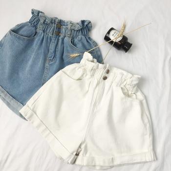Fannic  Summer HighWaist Denim Shorts Women Casual Loose Ladies Fashion Roll Up Hem Elastic Waist Pocket Blue White Jeans Female roll up hem denim shorts with belt