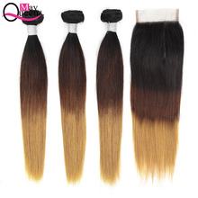 May Queen 1b 4 27 Silky Straight Bundles Human Hair 3 With Closure Remy Ombre Brazilian Weave