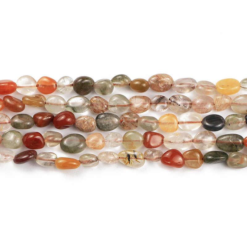 JHNBY מזל גביש קוורץ טבעי אבן חצץ סדיר 4 ~ 8mm מרווחי Loose חרוזים צמידי תכשיטי ביצוע DIY ממצאי