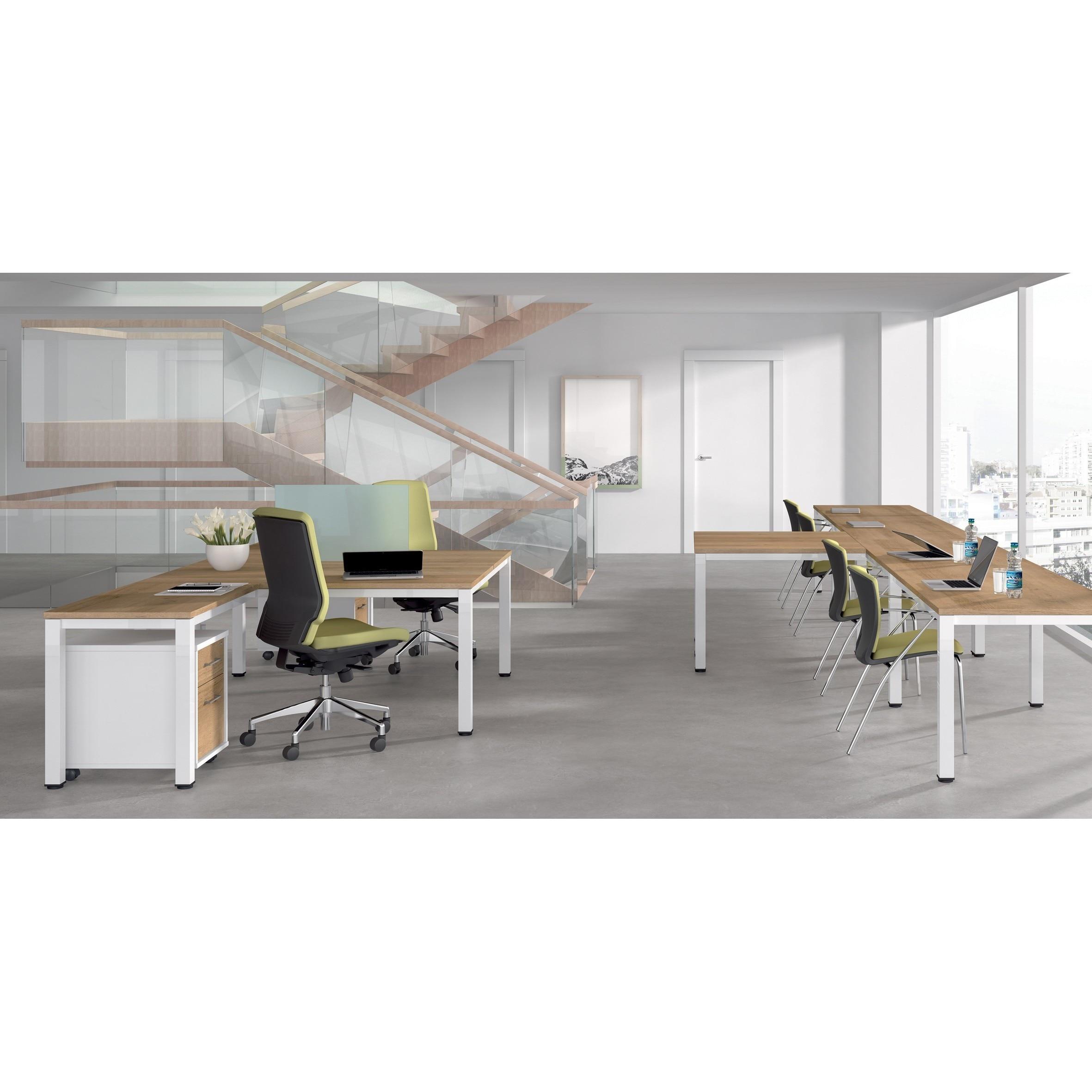 TABLE DE OFFICE DOUBLE EXECUTIVE SERIES 160X163 CHROME/BEECH