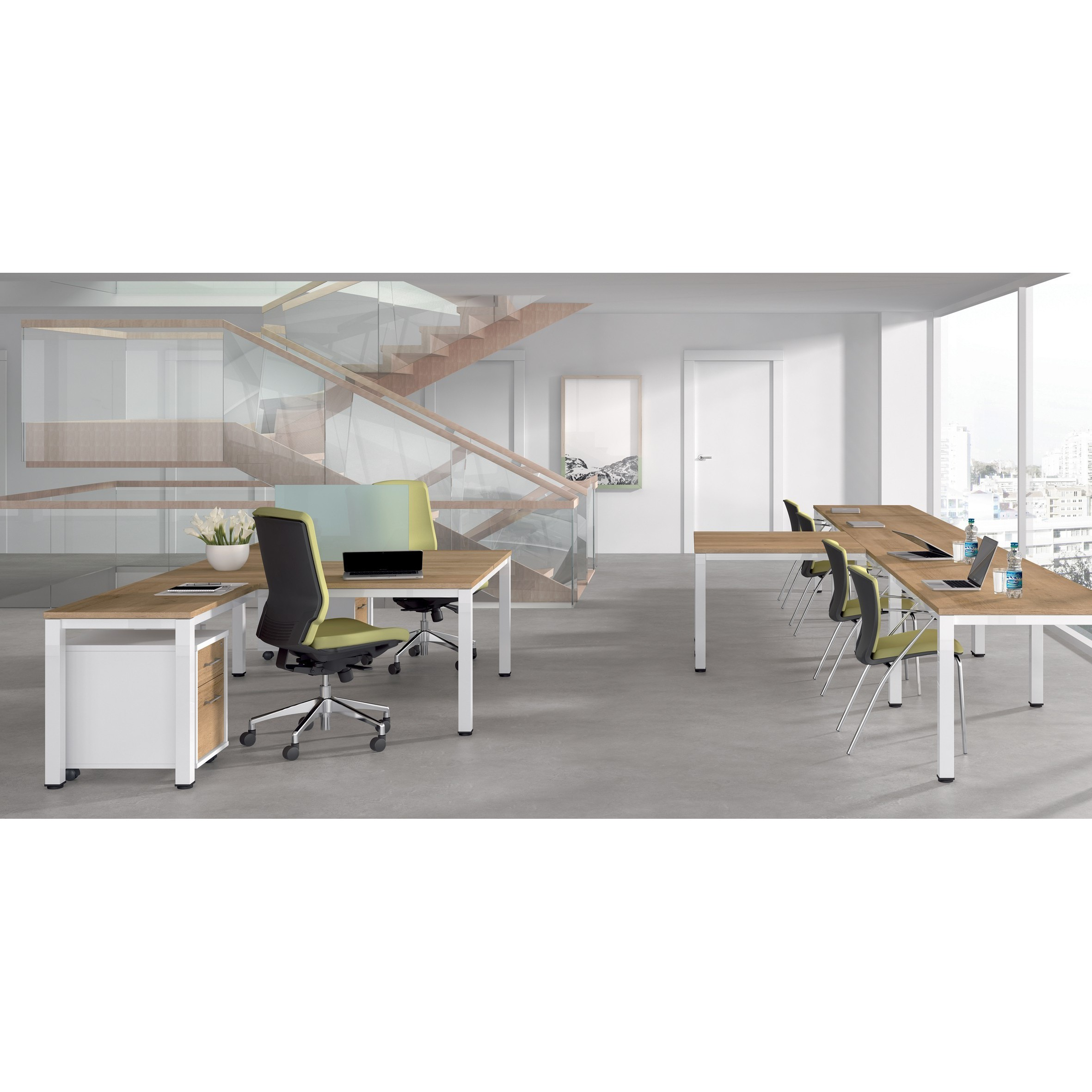 TABLE DE OFFICE QUADRUPLE (4 POSTS) EXECUTIVE SERIES 320x163 CHROME/BEECH