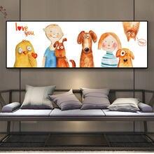 Акварельные картины с изображением мультяшных кошек собак детей