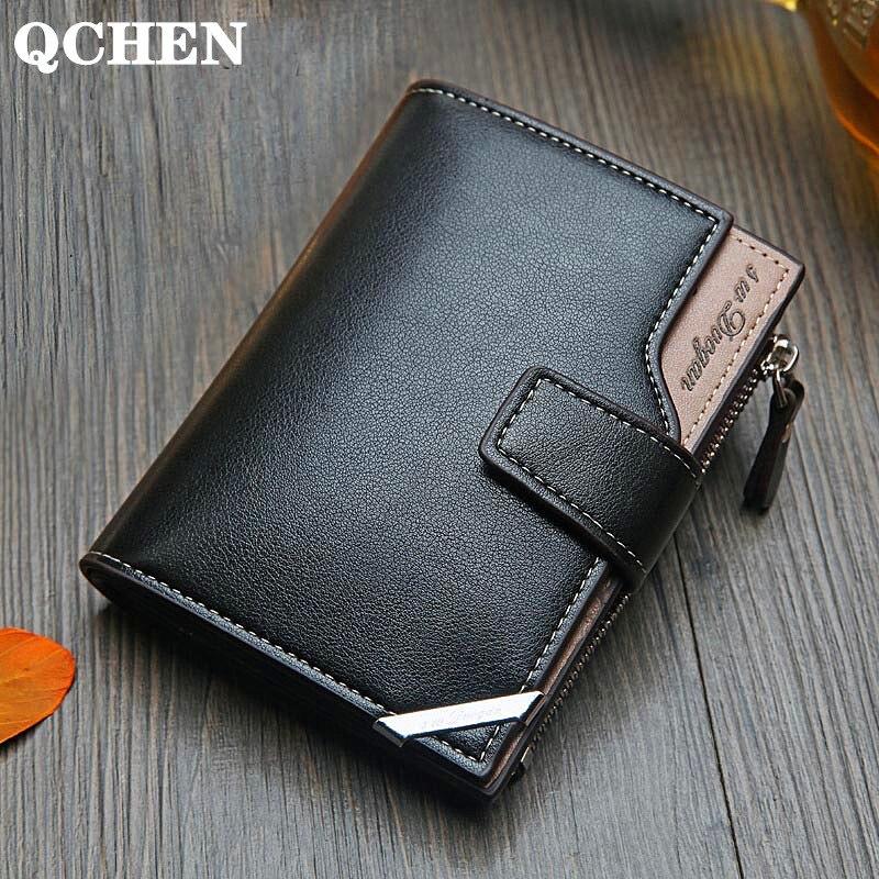 Men's Wallet Korean Casual  Short Vertical Men Wallets British Casual Multi-function Card Bag Zipper Buckle Triangle Folding 614
